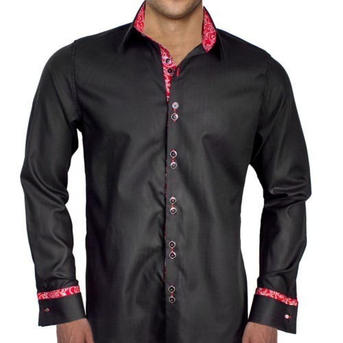 Black-and-Red-French-Cuff-Dress-Shirts