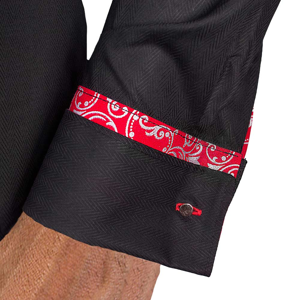 Black with red french cuff dress shirts for Mens dress shirts french cuffs