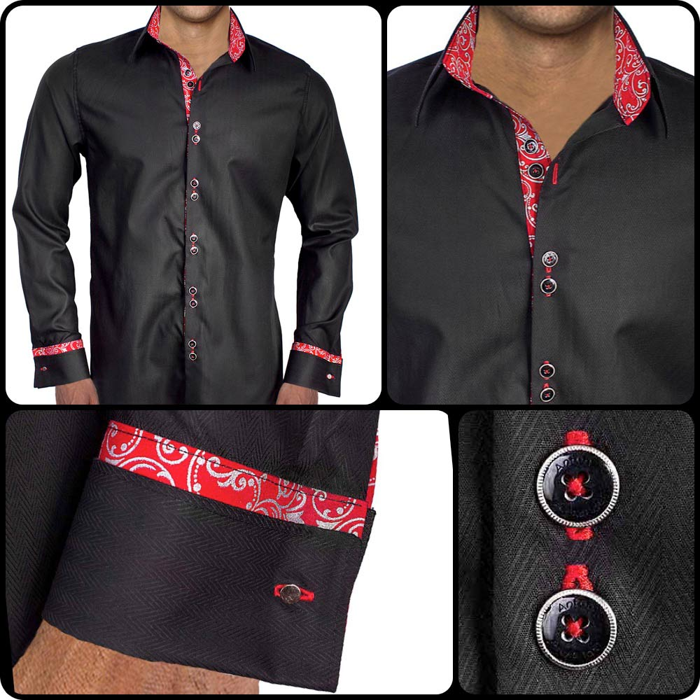 89424b51d92c Black with Red French Cuff Dress Shirts