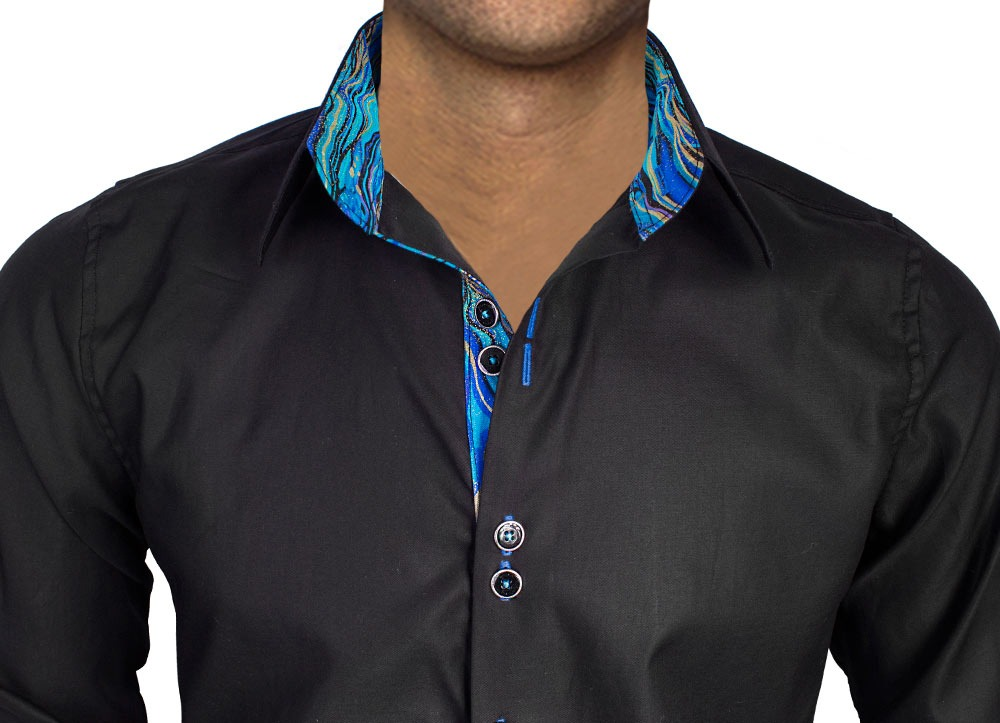 Black-with-blue-contrast-dress-shirts