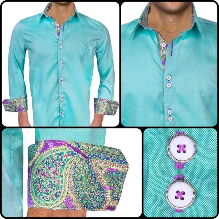 Bright-Green-Dress-Shirts-with-purple