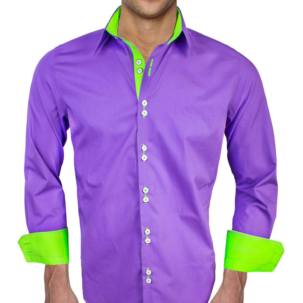 Purple with neon green dress shirts for Neon green shirts for men