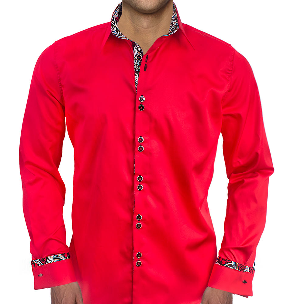 Bright Red With Black French Cuff Dress Shirts