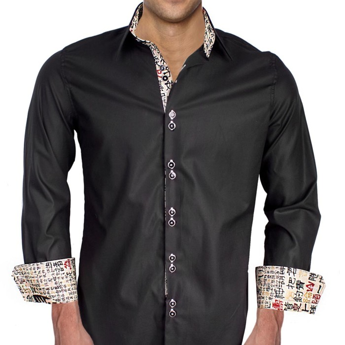 Chinese-Writing-On-Cuffs-Dress-Shirts