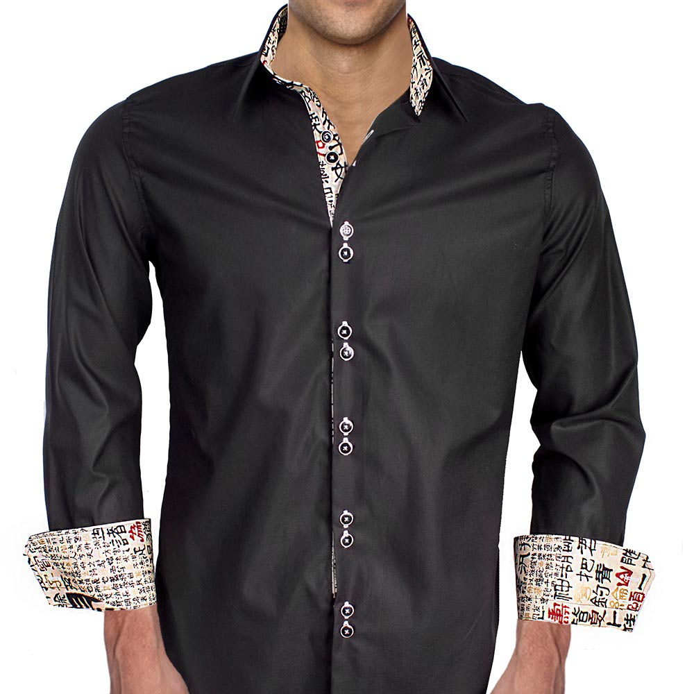 Black With Chinese Writing Dress Shirts