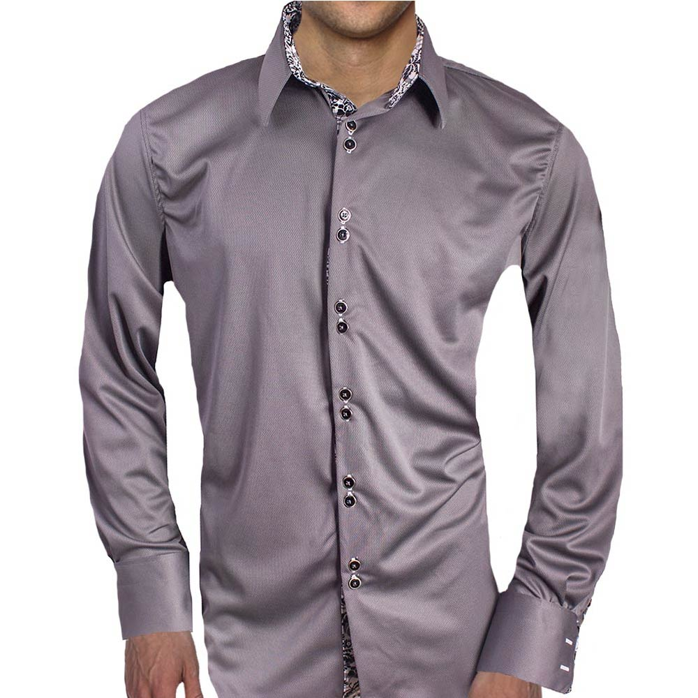 Gray With White Cuff Dress Shirts