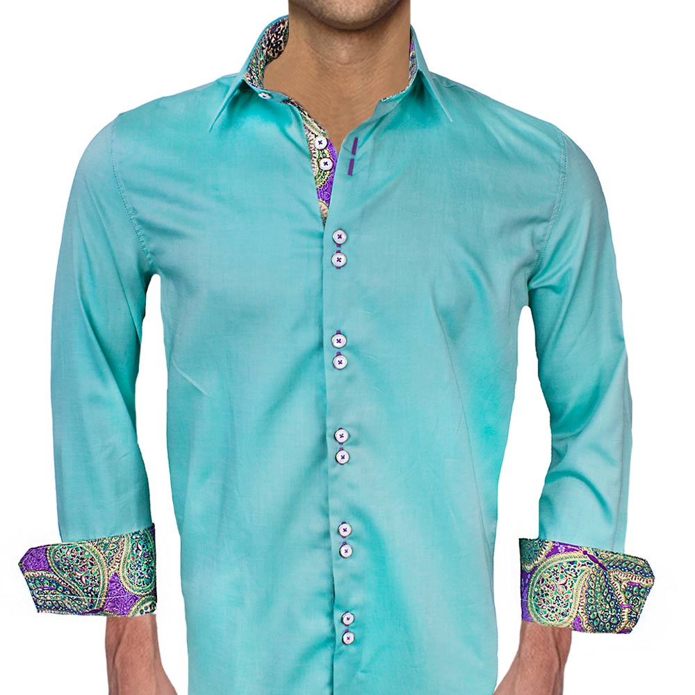 Green With Purple Contrast Dress Shirts