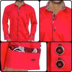 Red-with-Black-French-Cuff-Dress-Shirts