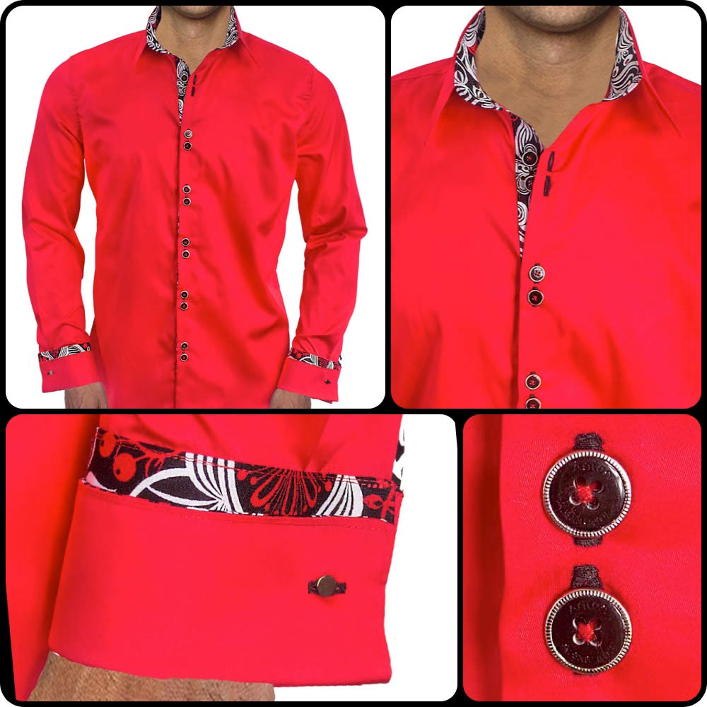 Bright red with black french cuff dress shirts for Mens white french cuff shirt