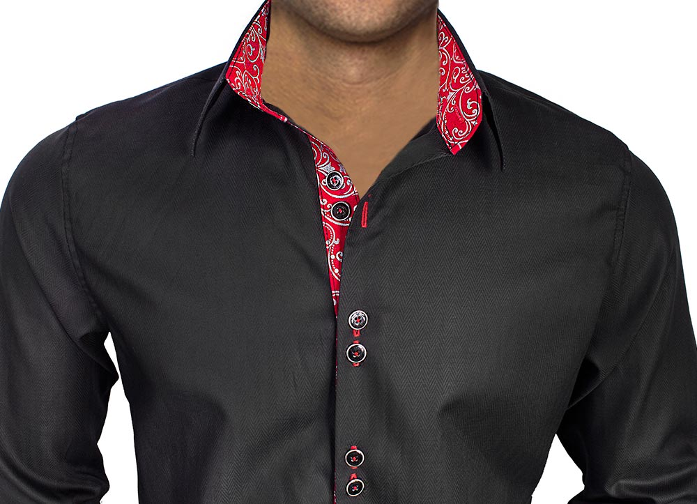Black-with-red-cuffs-dress-shirts