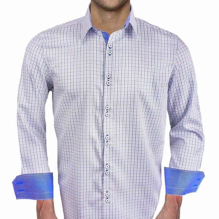Blue-Plaid-Contrast-Dress-Shirts