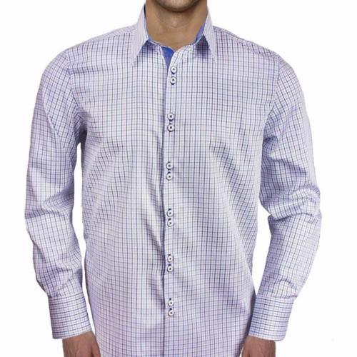 Blue-Plaid-Mens-Dress-Shirts