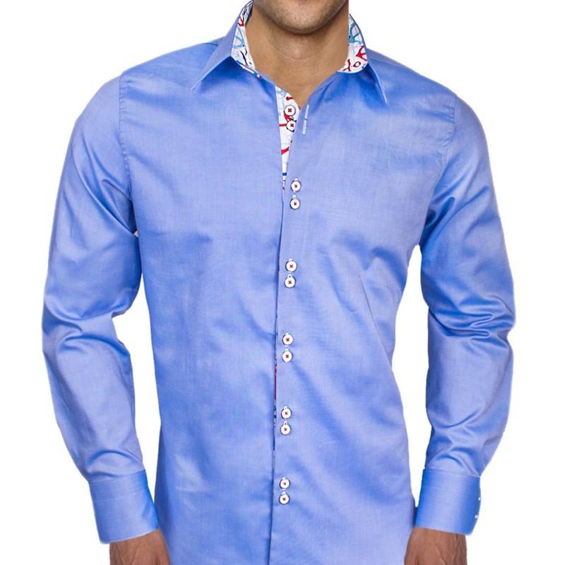 Blue-Dress-Shirt-with-Anchors-on-Cuffs