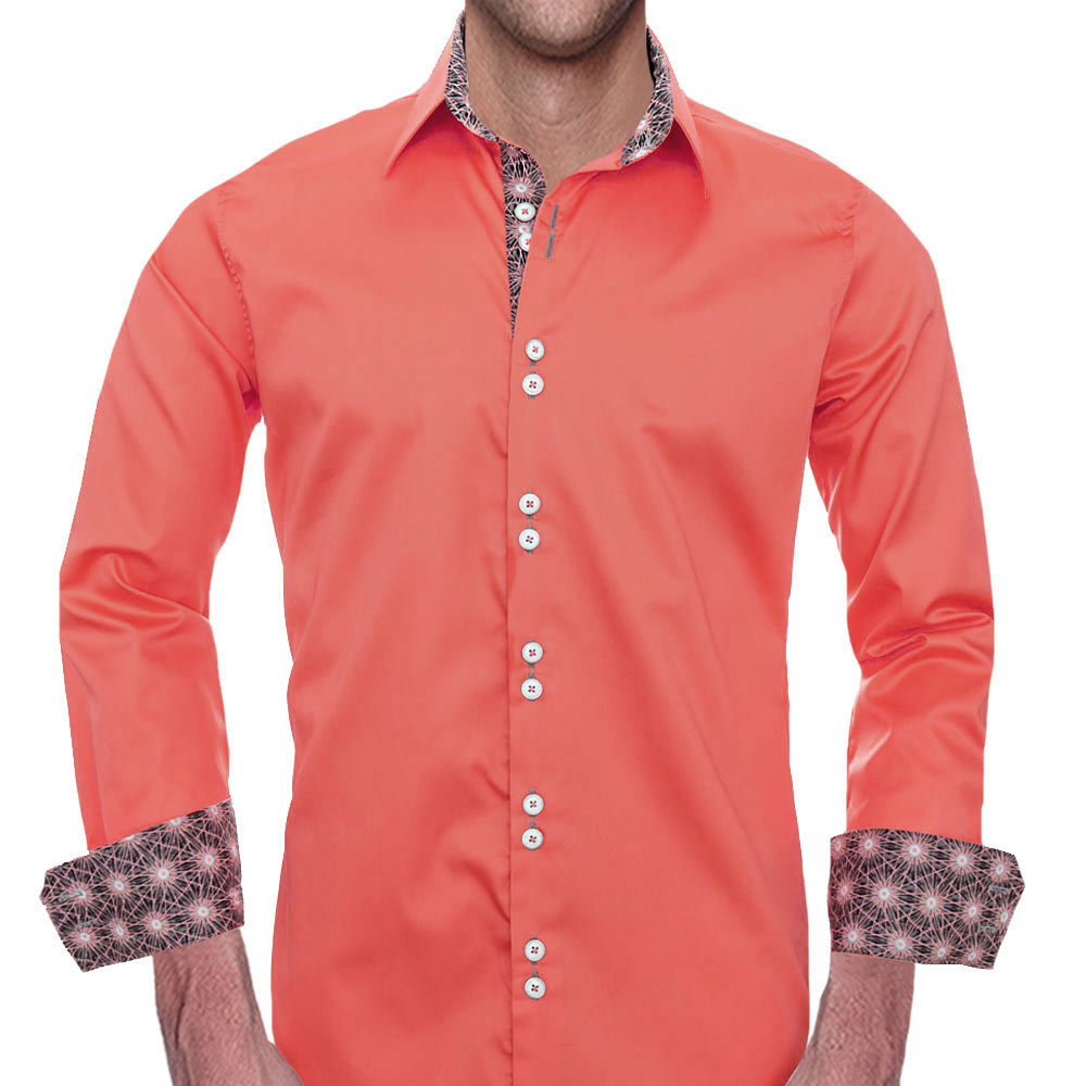 Coral and grey Dress Shirts