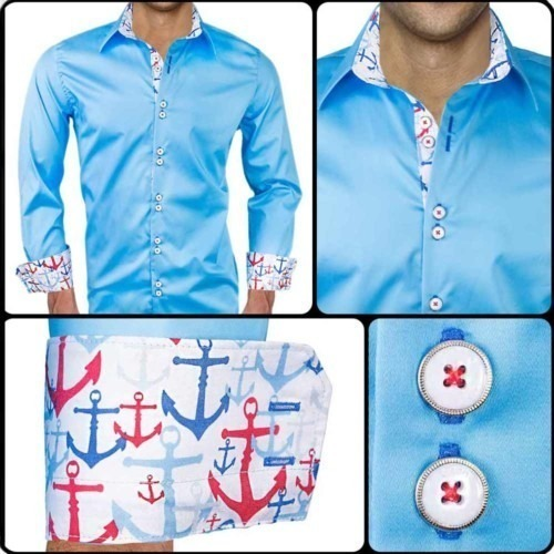 Mens-Dress-Shirts-with-Anchors-on-Cuffs