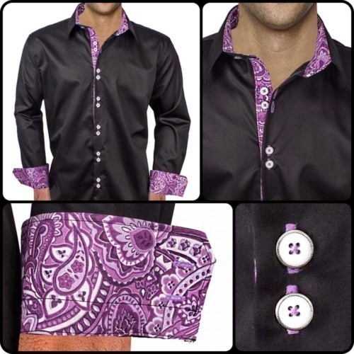 Black-Dress-Shirts-with-Purple-Cuffs