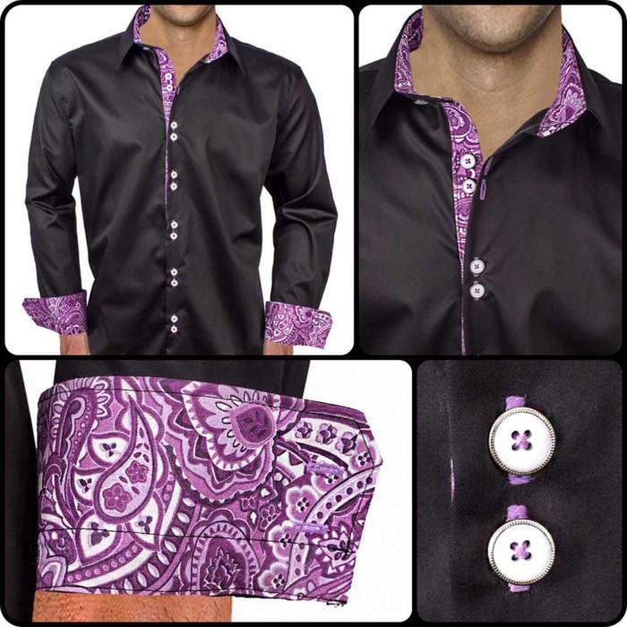 Black-Dress-Shirts-with-Purple-Cuffs