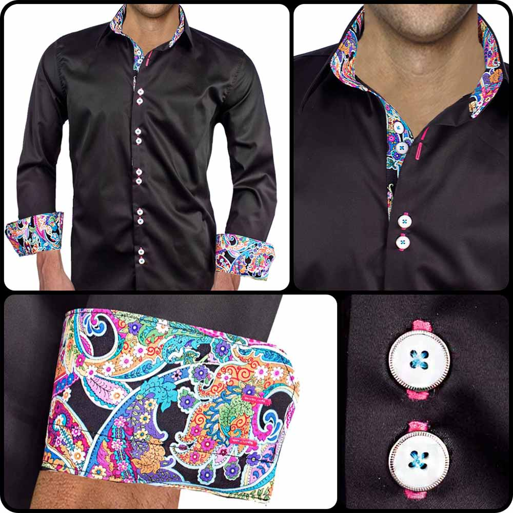 Black-with-Bright-Accent-Dress-Shirts