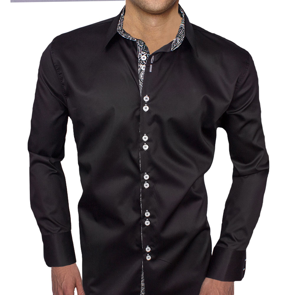 Black with grey dress shirts for Dark grey shirt dress