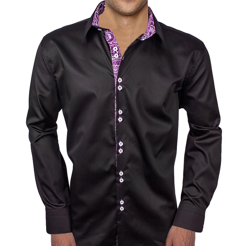 Black With Purple Paisley Dress Shirts