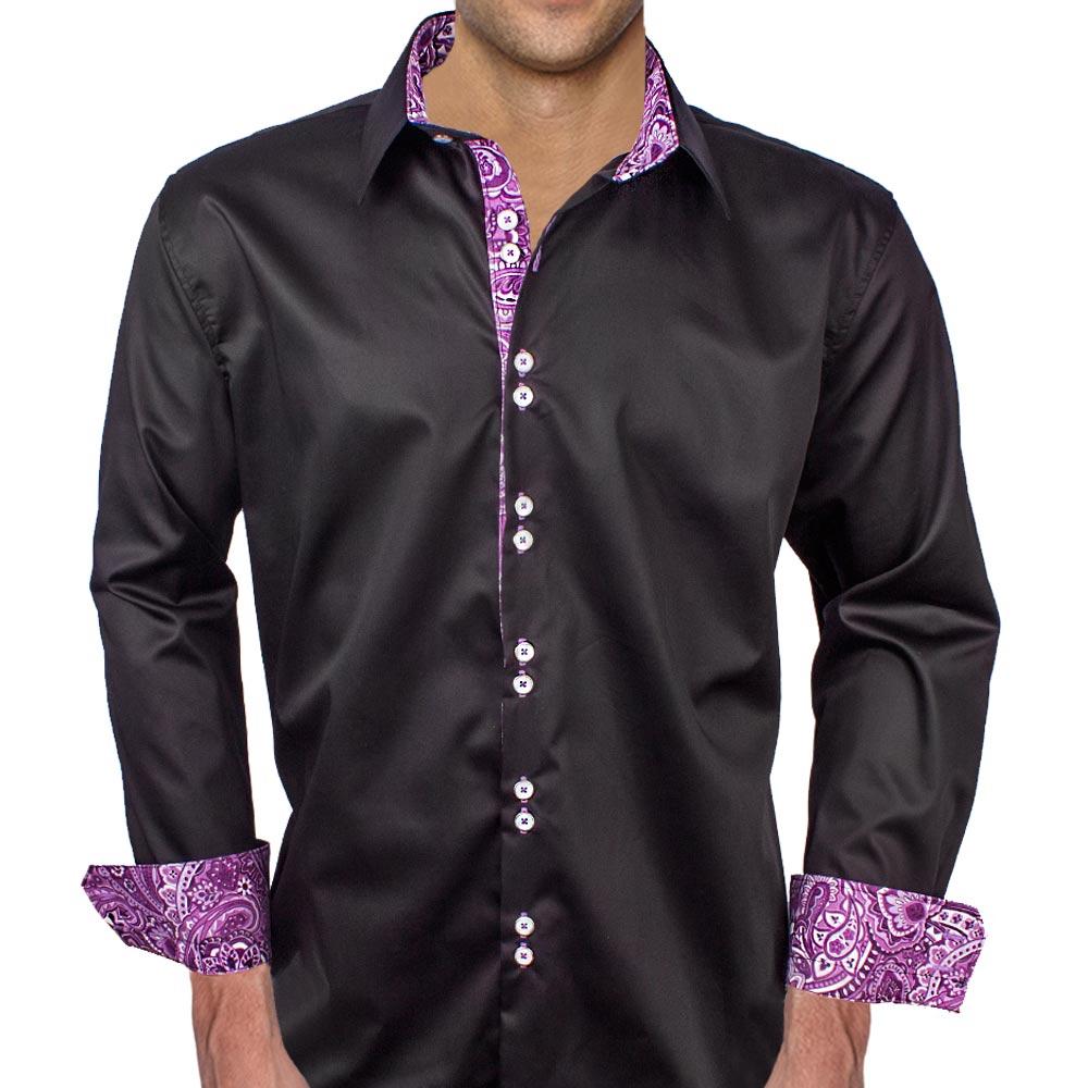 Black-with-Purple-contrast-Dress-Shirts