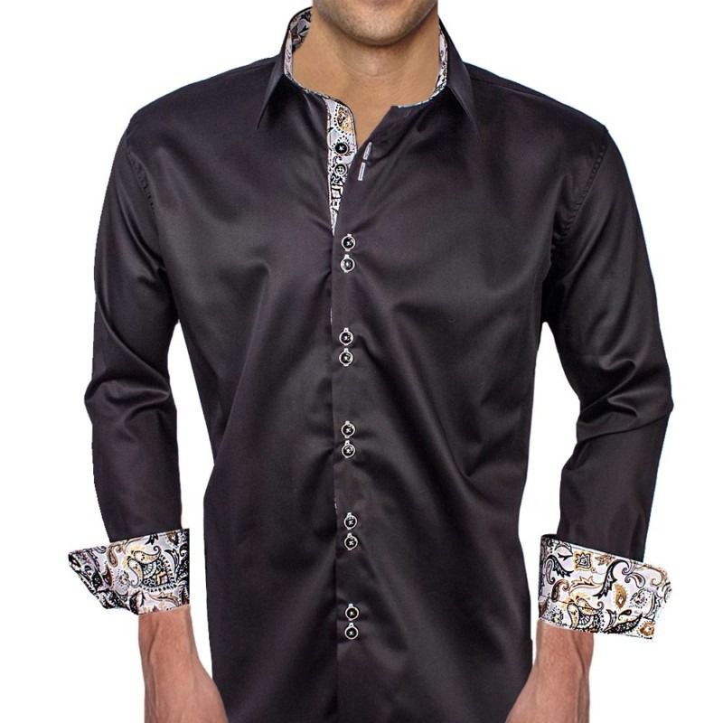 Black-with-silver-accent-dress-shirts