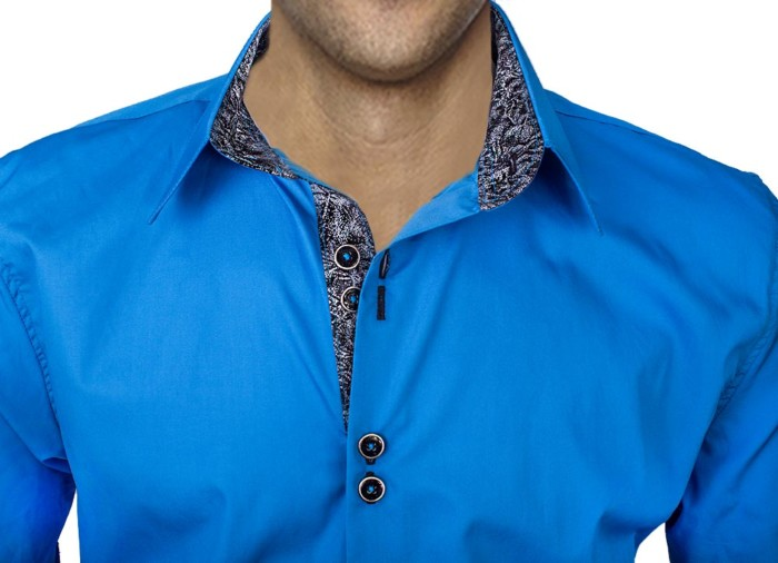Bright-Blue-With-Black-Mens-Dress-Shirts