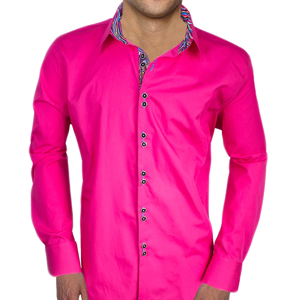 Mens Bright Pink Shirt Artee Shirt