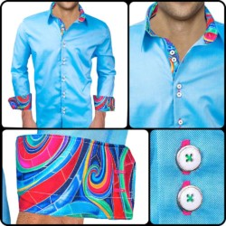 Light-Blue-with-Colorful-Cuff-Dress-Shirts