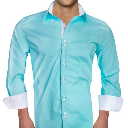 Teal-with-White-Cuff-Dress-Shirts