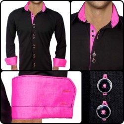 black-with-neon-pink-dress-shirts