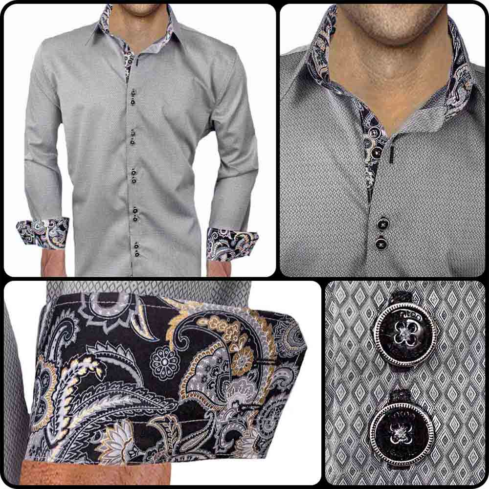 Grey with black dress shirts for Dark grey shirt dress