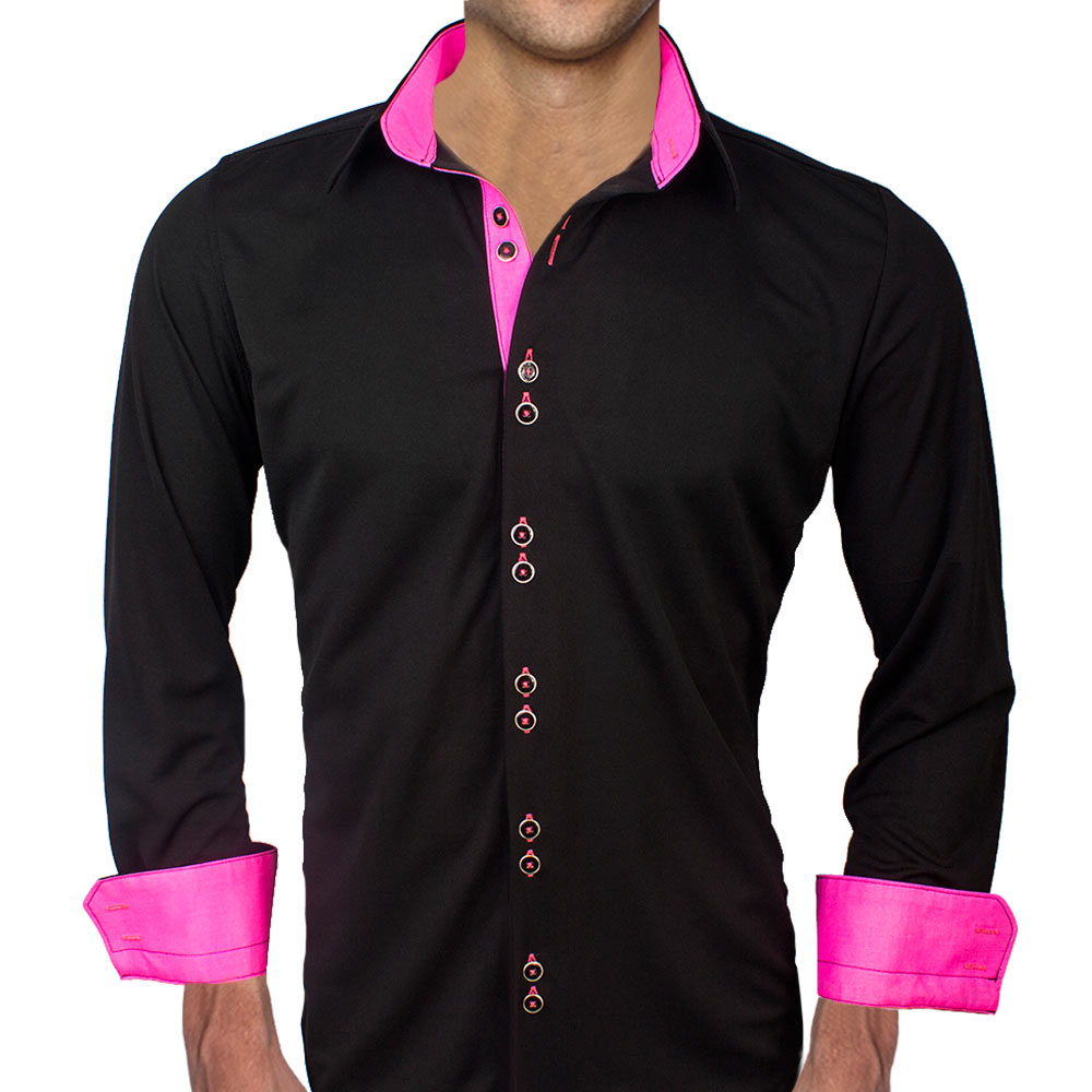 Black with Neon Pink Dress Shirts
