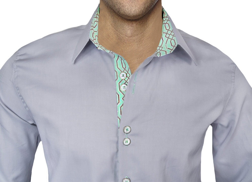 Gray-and-Teal-Dress-Shirts