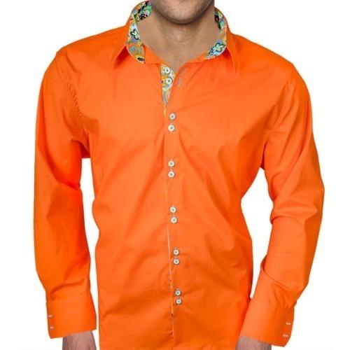 Mens-Bright-Orange-Designer-Dress-Shirts