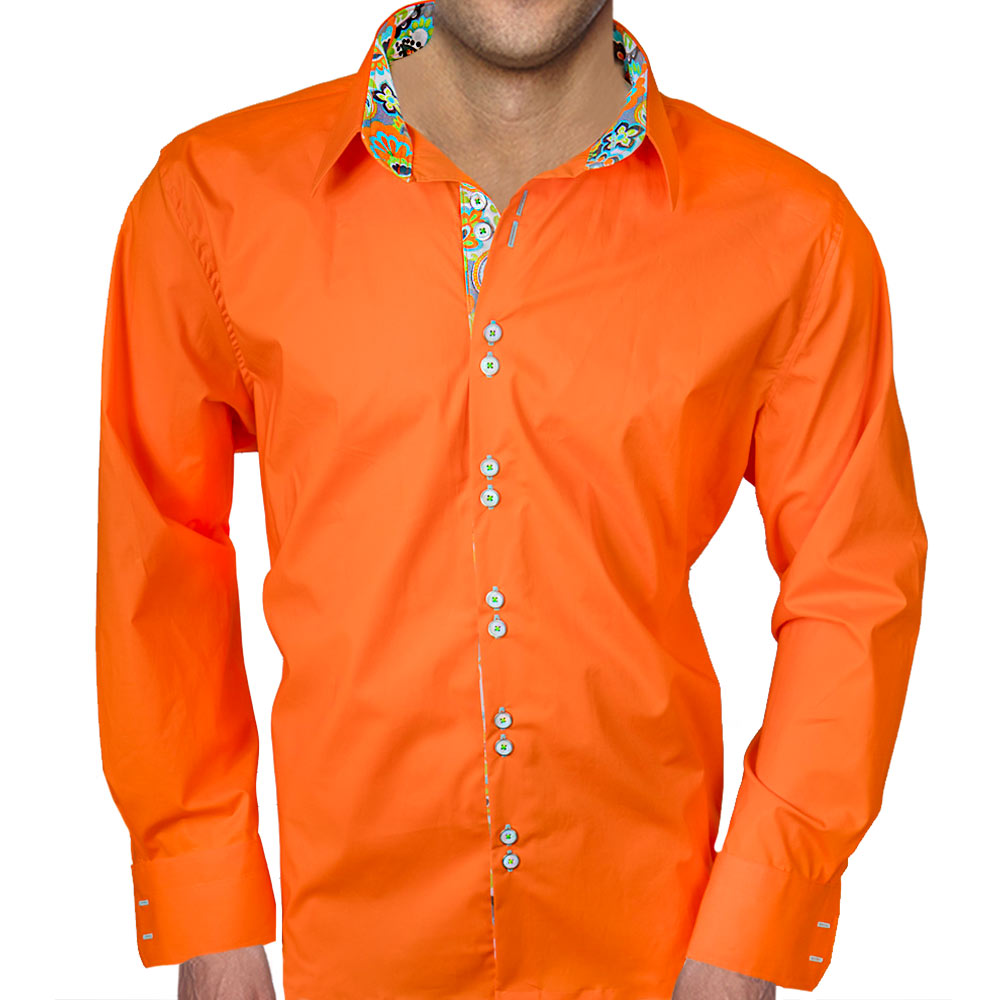 bright orange with multi color accent dress shirts