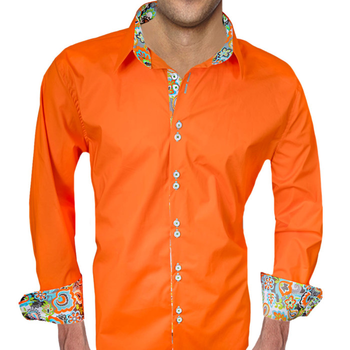 Orange-with-Bright-Color-Accent-Dress-Shirts