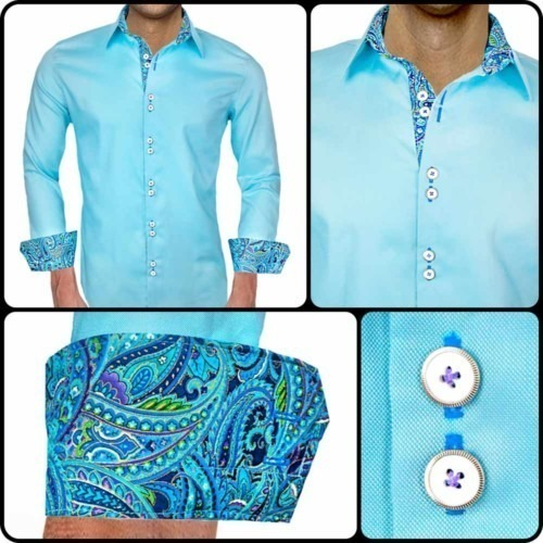 Mens-Light-Blue-Paisley-Dress-Shirts