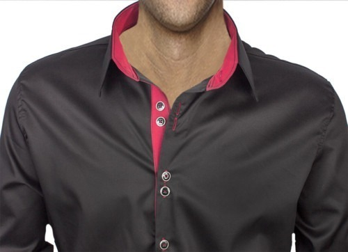 Black-Dress-Shirt-with-Maroon-Accent