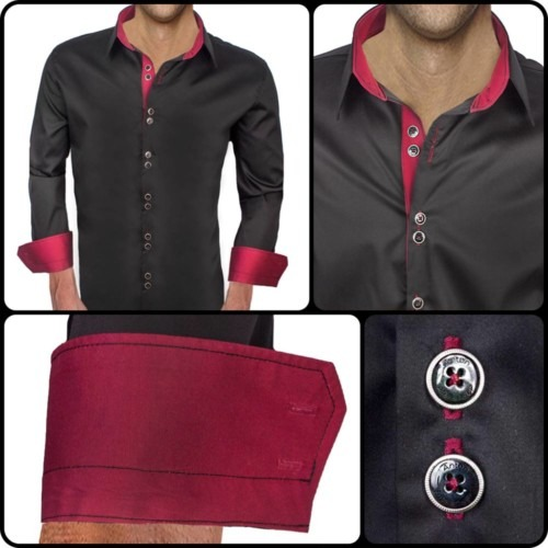 Black-Dress-Shirts-with-Maroon-Accent