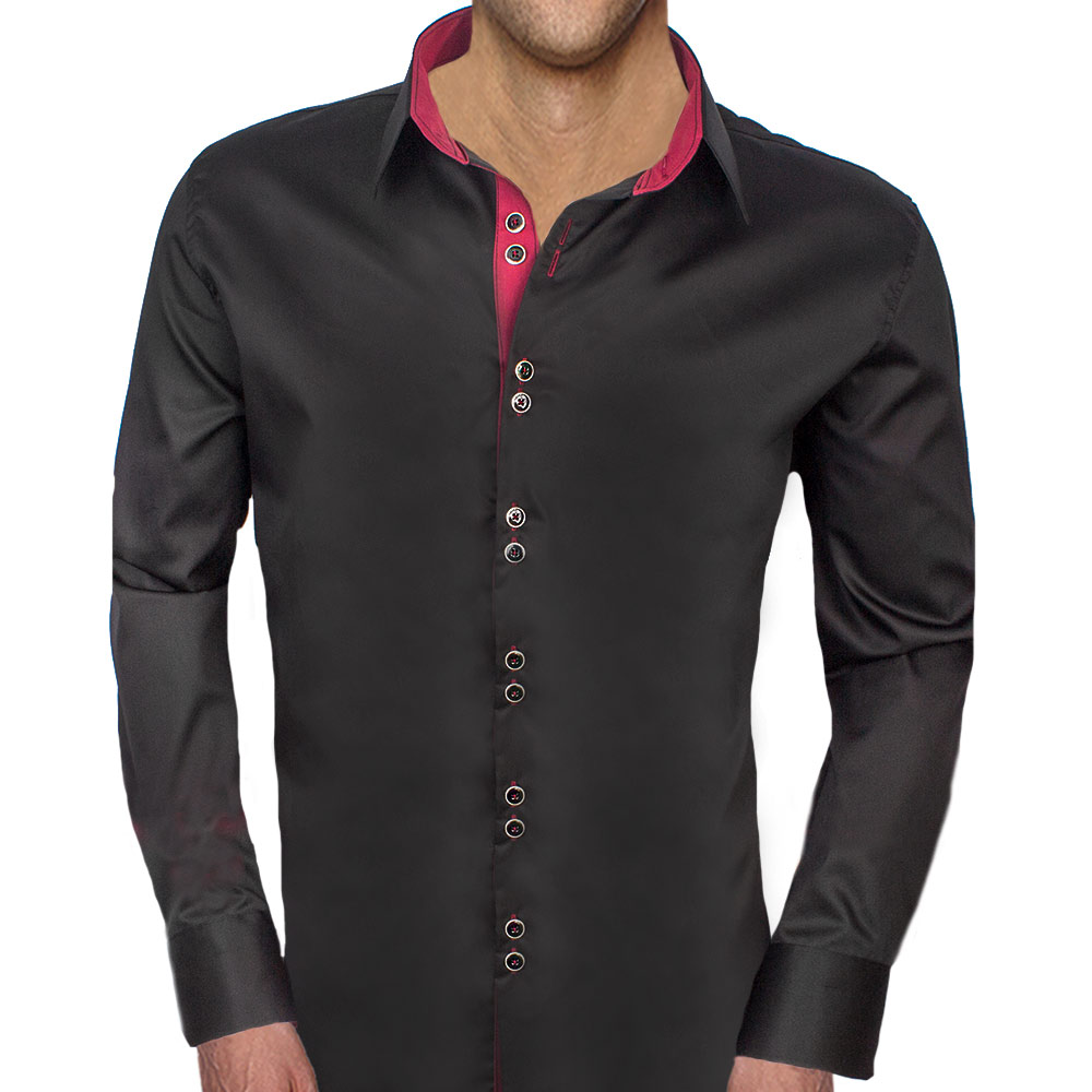 Black-Dress-Shirts-with-Maroon-Contrast
