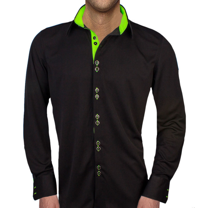 Black-Dress-Shirts-with-Neon-Green-Contrast