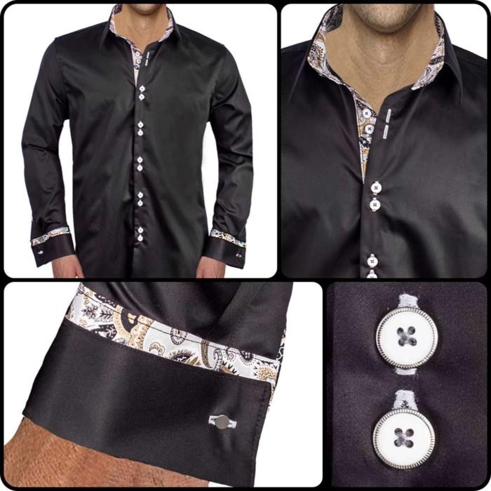 Black-and-Gray-French-Cuff-Dress-Shirts