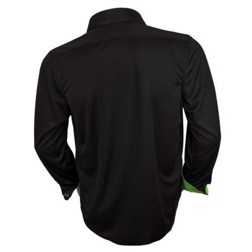 Black dress shirt with neon green cuffs