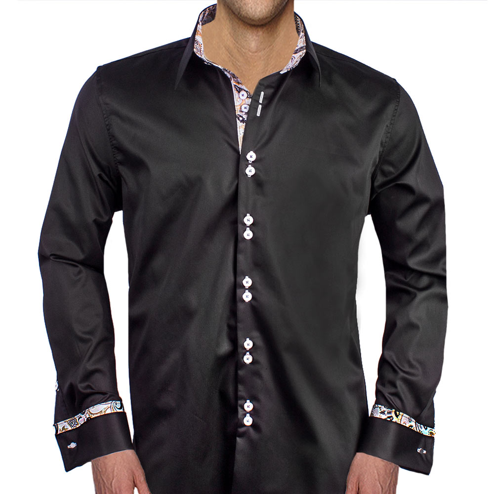 Black With Gray French Cuff Dress Shirts