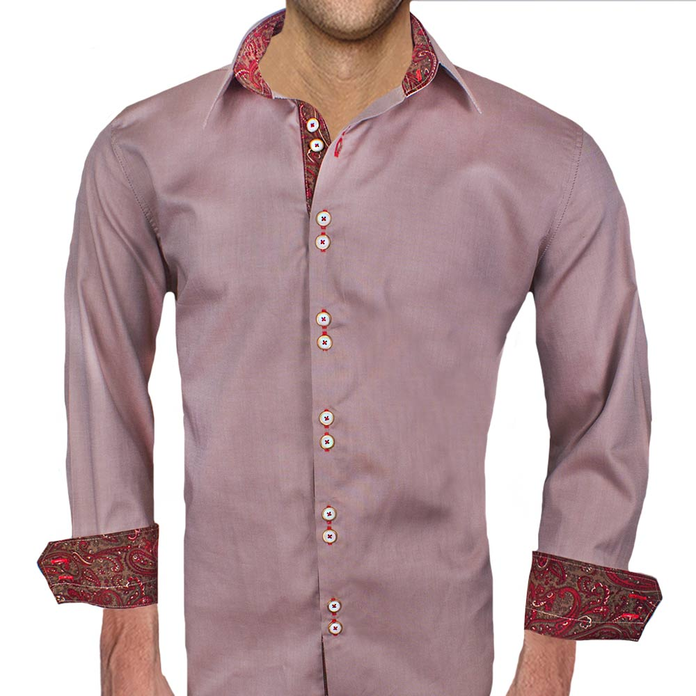 Brown-Dress-Shirts-with-Red-Accent