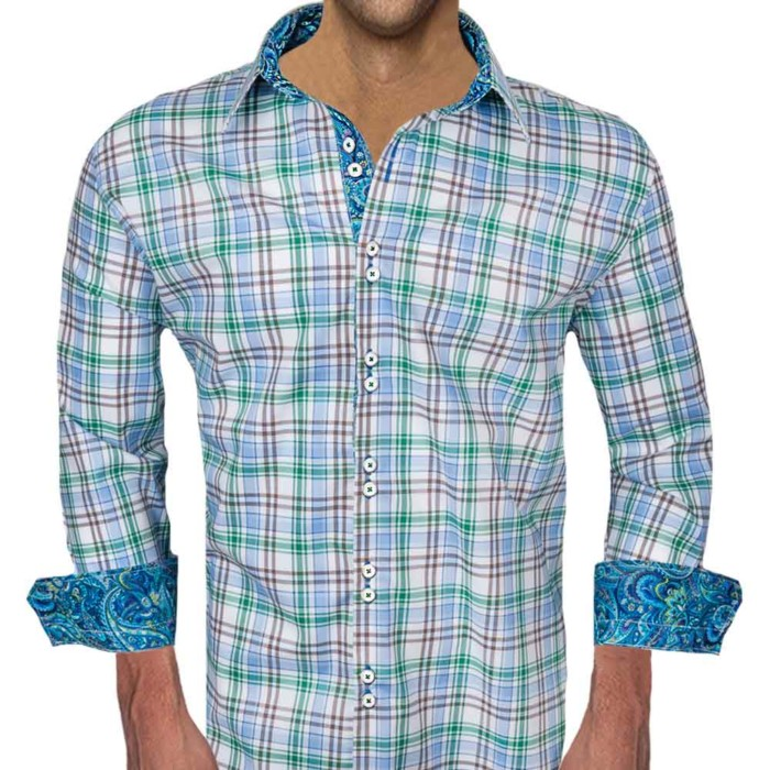 Brown-Green-Plaid-Dress-Shirts