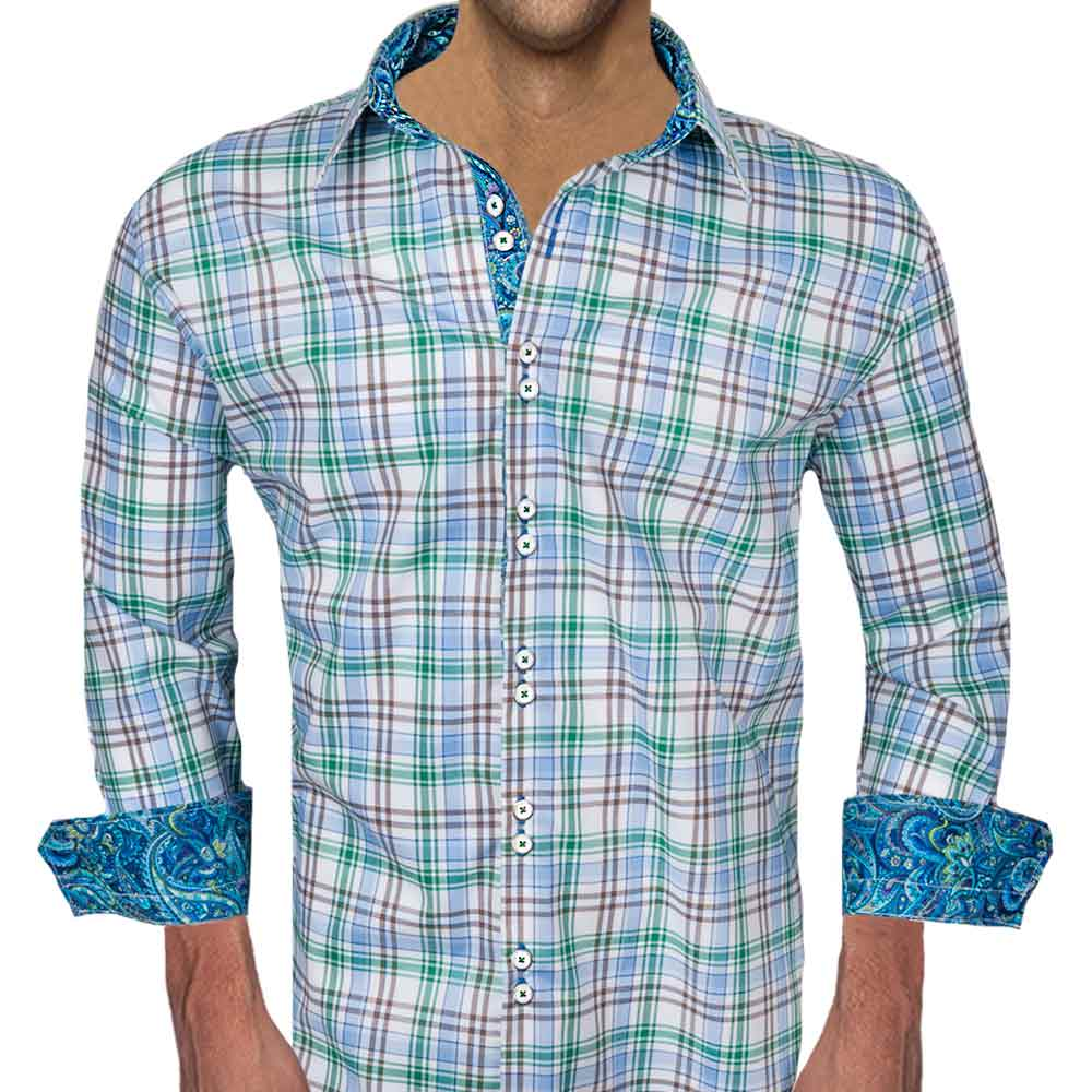 Our Green Blue Plaid Dress Shirts are all made with White with Blue, Green, and Brown Italian Plaid Cotton with blue and green paisley contrast fabric. There is .