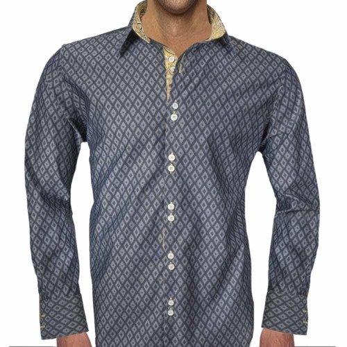 Gray-and-Yellow-Paisley-Dress-Shirts