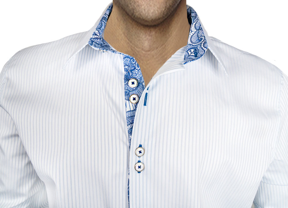 Mens-White-Dress-Shirts-with-Blue-Stripe